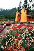 PERU, HIGHLANDS, CUZCO AREA in the Sacred Valley of the Incas; the Colonial Hacienda at Yucay, now a hotel with gardens and restored church
