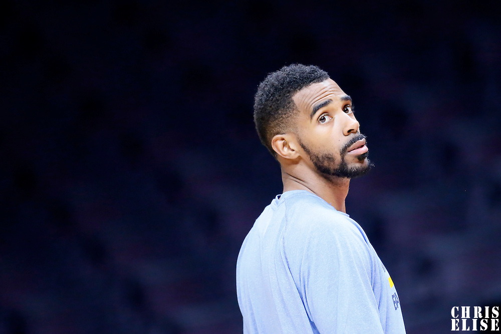 23 February 2015: Memphis Grizzlies guard Mike Conley (11) warms up prior to the Memphis Grizzlies 90-87 victory over the Los Angeles Clippers, at the Staples Center, Los Angeles, California, USA.