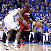12 June 2012: Miami Heat shooting guard Dwyane Wade (3) looks to pass the ball during the Oklahoma City Thunder 105-94 victory over the Miami Heat, in Game 1 of the 2012 NBA Finals, at the Chesapeake Energy Arena, Oklahoma City, Oklahoma, USA.