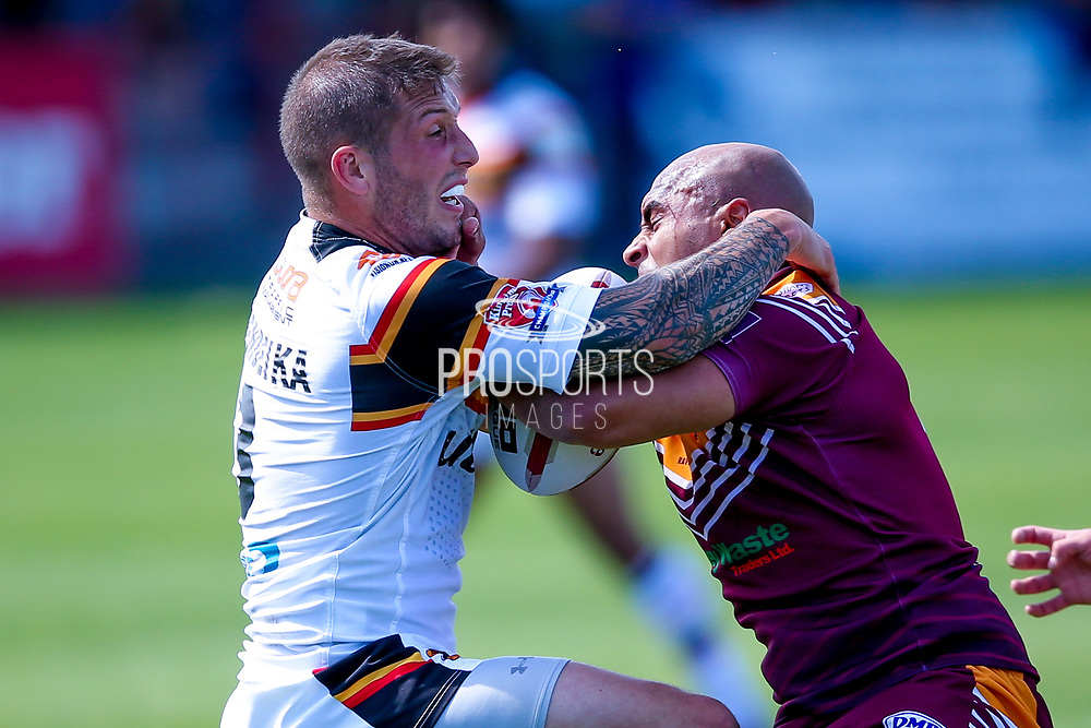Bradford Bulls centre Joseph Mendeika (3) strong in the tackle during the Kingstone Press Championship match between Batley Bulldogs and Bradford Bulls at the Fox's Biscuits Stadium, Batley, United Kingdom on 16 July 2017. Photo by Simon Davies.