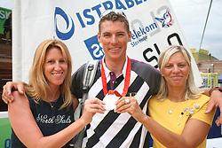 Tamara Glavina Knafelc of AdriaticSlovenica and Vasilij Zbogar at welcome ceremony in Olympic City BTC, on August 23, 2008, in Alea Mladih, BTC, Ljubljana, Slovenia. (Photo by Vid Ponikvar / Sportal Images)./ Sportida)