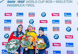 17.01.2020, Olympia Eiskanal, Innsbruck, AUT, BMW IBSF Weltcup Bob und Skeleton, Igls, Skeleton, Damen, Siegerehrung, im Bild v.l. Janine Flock (AUT), Jacqueline Loelling (GER), Megan Henry (USA) // f.l. Janine Flock of Austria Jacqueline Loelling of Germany and Megan Henry of the USA during the winner ceremony of women's Skeleton competition of BMW IBSF World Cup at the Olympia Eiskanal in Innsbruck, Austria on 2020/01/17. EXPA Pictures © 2020, PhotoCredit: EXPA/ Stefan Adelsberger