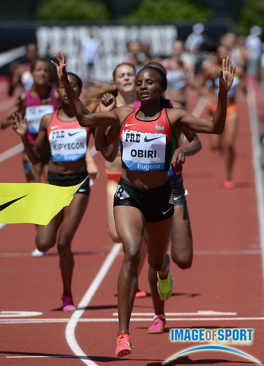 May 31, 2014; Eugene, OR, USA; Hellen Obiri (KEN) wins the womens 1,500m in a meet record 3:57.05 in the 40th Prefontaine Classic at Hayward Field.