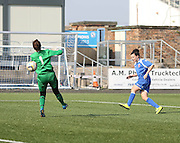 Amy Gallacher scores Framingham's second goal - Forfar Farmington v Hamilton Academical in the Scottish Women's Premier League<br />