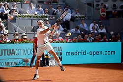 May 9, 2019 - Madrid, Spain - Roger Federer of Switzerland in action against Gael Monfils of France during day six of the Mutua Madrid Open at La Caja Magica on May 09, 2019 in Madrid, Spain. (Credit Image: © Juan Carlos Lucas/NurPhoto via ZUMA Press)