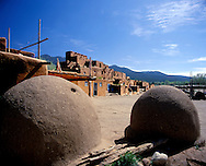 Adobe ovens in Taos Pueblo, New Mexico