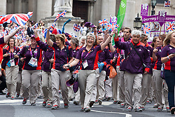 © under license to London News Pictures. 25/06/12..Britain's generation of athletes paid tribute to London as up to a million people lined the streets to celebrate the sporting summer. About 800 Olympians and Paralympians were taking part in the parade...ALEX CHRISTOFIDES/LNP