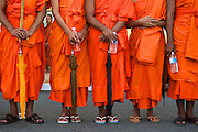 Buddhist monks and the Cambodian public mourn the death of King Norodom Sihanouk. He was the King of Cambodia from 1941 to 1955 and again from 1993 to 2005. He was the effective ruler of Cambodia from 1953 to 1970. <br />