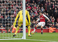 Football - 2017 / 2018 Premier League - Arsenal vs. Tottenham Hotspur<br /> <br /> Hector Bellerín (Arsenal FC) squares the ball across the Tottenham 6 yard box at The Emirates.<br /> <br /> COLORSPORT/DANIEL BEARHAM