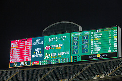 OAKLAND, CA - MAY 07: General view of the scoreboard at the Oakland Coliseum after Mike Fiers (not pictured) of the Oakland Athletics pitched a no hitter against the Cincinnati Reds on May 7, 2019 in Oakland, California. The Oakland Athletics defeated the Cincinnati Reds 2-0. (Photo by Jason O. Watson/Getty Images) *** Local Caption ***