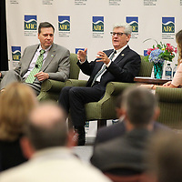 Tim Thomas, from left, Gov. Phil Bryant and Molly Conway have a round table discussion Thursday about workforce development at the BancorpSouth Conference Center in Tupelo.