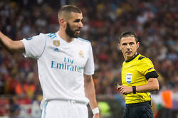 Referee Milorad Mazic looking at Karim Benzema of Real Madrid  during the UEFA Champions League final football match between Liverpool and Real Madrid at the Olympic Stadium in Kiev, Ukraine on May 26, 2018.Photo by Sandi Fiser / Sportida