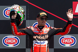 May 13, 2018 - Imola, BO, Italy - Chaz Davies of Aruba.it Racing - Ducati celebrate the second place on race 2 of the Motul FIM Superbike Championship, Italian Round, at International Circuit ''Enzo and Dino Ferrari'', on May 13, 2018 in Imola, Italy  (Credit Image: © Danilo Di Giovanni/NurPhoto via ZUMA Press)