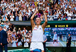 LONDON, ENGLAND - Saturday, July 14, 2018: Angelique Kerber (GER) celebrates winning the Ladies' Singles Final match 6-3, 6-3 on day twelve of the Wimbledon Lawn Tennis Championships at the All England Lawn Tennis and Croquet Club. (Pic by Kirsten Holst/Propaganda)