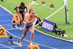 Lisanne de Witte op weg naar brons op de 400m bij het EK atletiek in Berlijn op 11-8-2018
