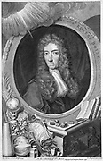 Robert Boyle (1627-1691) Anglo-Irish chemist and physicist.  Copperplate engraving of 1739 by English printmaker George Vertue (1684-1756) after portrait by  the German painter Johann Kerseboom (active 1680).
