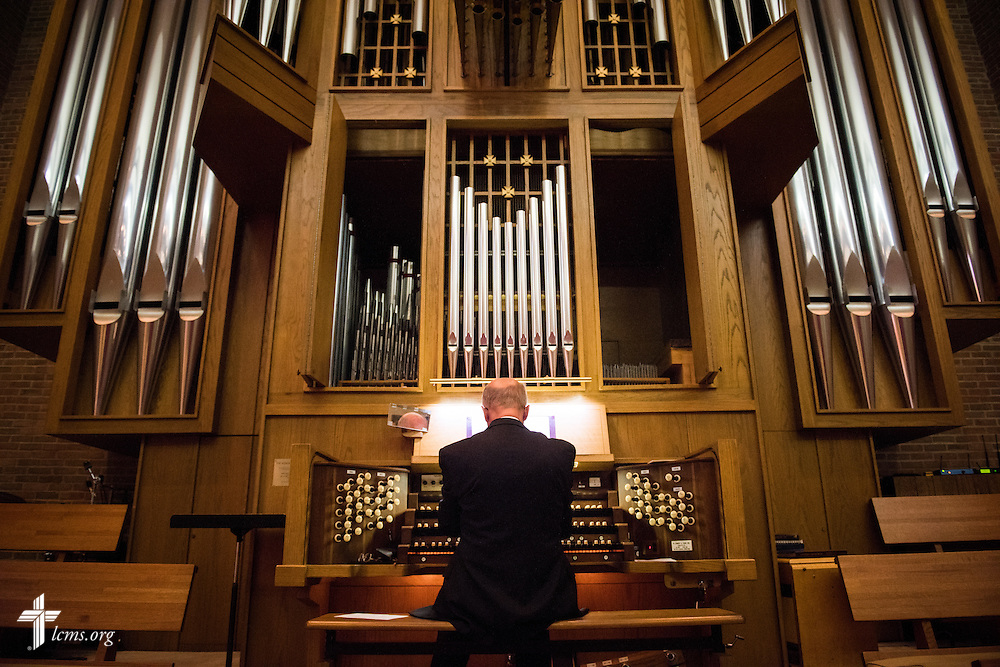 The organist leads music during chapel service in the Chapel of Our Lord on the campus of Concordia University Chicago in River Forest, Ill., on Friday, Oct. 10, 2014. LCMS Communications/Erik M. Lunsford
