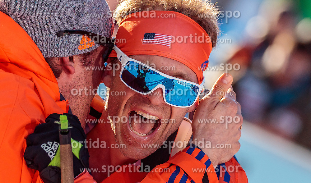 16.02.2017, Biathlonarena, Hochfilzen, AUT, IBU Weltmeisterschaften Biathlon, Hochfilzen 2017, Einzel Herren, im Bild Goldmedaillengewinner Lowell Bailey (USA) jubelt beim Zieleinlauf // Winner and Gold Medalist Lowell Bailey of the USA celebrate during individual Mens of the IBU Biathlon World Championships at the Biathlonarena in Hochfilzen, Austria on 2017/02/16. EXPA Pictures © 2017, PhotoCredit: EXPA/ JFK