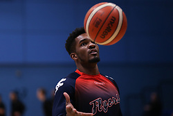Marcus Delpeche of Bristol Flyers during the warm up - Photo mandatory by-line: Arron Gent/JMP - 02/11/2019 - BASKETBALL - Surrey Sports Park - Guildford, England - Surrey Scorchers v Bristol Flyers - British Basketball League Cup