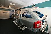 Mlada Boleslav/Tschechische Republik, Tschechien, CZE, 16.03.07: Zu Informationszwecken ausgestellte Skoda Octavia Karosserie am Eingang der Octavia Karosserie Fertigungshalle in der Skoda Autofabrik in Mlada Boleslav. Der tschechische Autohersteller Skoda ist ein Tochterunternehmen der Volkswagen Gruppe. <br /> <br /> Mlada Boleslav/Czech Republic, CZE, 16.03.07: Skoda Octavia car body-frame exhibited at Skoda car factory in Mlada Boleslav. Czech car producer Skoda Auto is subsidiary of the German Volkswagen Group (VAG).