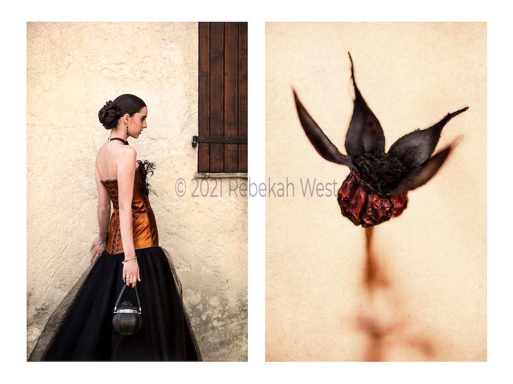 """Caption: """"Rose noire"""" Genus: Wonder. Diptych photographic art by Rebekah West. Description: Horizontal pairing of images: Woman touching wall wearing copper leather bodice and black net skirt and remnants of rose with black petals and copper base."""