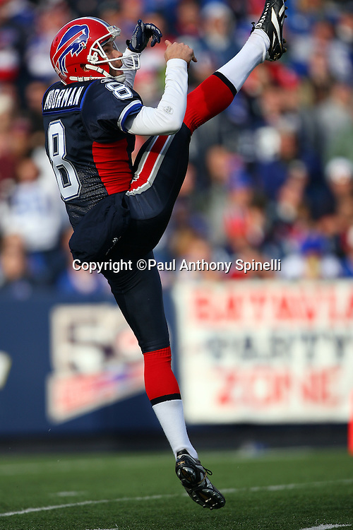 Buffalo Bills punter Brian Moorman (8) punts during the NFL football game against the Houston Texans, November 1, 2009 in Orchard Park, New York. The Texans won the game 31-10. (©Paul Anthony Spinelli)