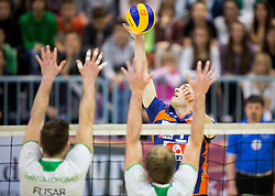 Andrej Flajs of ACH during volleyball game between OK Panvita Pomgrad and ACH Volley in Final of 1st DOL Slovenian National Championship 2014, on April 15, 2014 in Murska Sobota, Slovenia. Photo by Vid Ponikvar / Sportida
