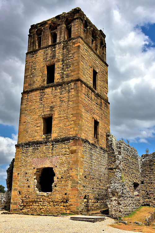 Cathedral Tower in Panam&aacute; Viejo, Panama City, Panama<br /> The centerpiece of the 57 acre Archaeological Site of Panam&aacute; Viejo is the 131 foot Torre de la Catedral.  Built on the site of an earlier 16th century church, this stone bell tower dates back to 1626.  It hints at the former grandeur of European&rsquo;s oldest settlement along the Pacific coast of the Americas.  Climbing the 115 steps to the top of the belfry rewards you with a panoramic view of the ruins below. They are in sharp contrast to the modern high-rises in the distant skyline.