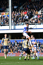 QPR's Jermaine Jenas heads the ball - Photo mandatory by-line: Mitchell Gunn/JMP - Tel: Mobile: 07966 386802 01/03/2014 - SPORT - FOOTBALL - Loftus Road - London - Queens Park Rangers v Leeds United - Championship