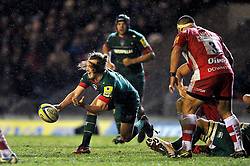 Sam Harrison of Leicester Tigers passes the ball - Photo mandatory by-line: Patrick Khachfe/JMP - Mobile: 07966 386802 13/02/2015 - SPORT - RUGBY UNION - Leicester - Welford Road - Leicester Tigers v Gloucester Rugby - Aviva Premiership
