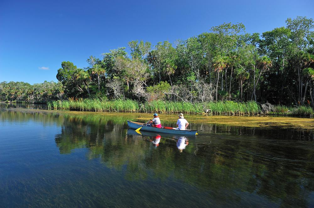 Canoe on waterway at Chassahowitzka National Wildlife River Refuge, near Spring Hill, Florida, USA
