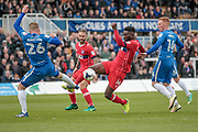 Jabo Ibehre (Carlisle United) controls the ball and takes it around Scott Harrison (Hartlepool United) during the EFL Sky Bet League 2 match between Hartlepool United and Carlisle United at Victoria Park, Hartlepool, England on 14 April 2017. Photo by Mark P Doherty.