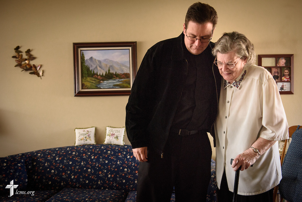 The Rev. Mark Nierman, pastor of Mount Olive Lutheran Church, visits homebound member Hazel Dunn on Thursday, March 3, 2016, in Loveland, Colo. LCMS Communications/Erik M. Lunsford