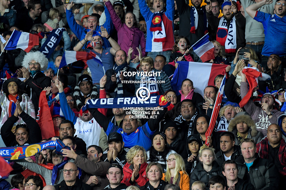 France fans celebrate during the Steinlager Series international rugby match between teh New Zealand All Blacks and France at Eden Park in Auckland, New Zealand on Saturday, 9 June 2018. Photo: Dave Lintott / lintottphoto.co.nz