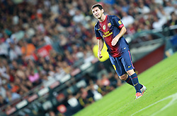 Lionel Messi of Barcelona looks on as he free kick is saved by Iker Casillas.  Barcelona v Real Madrid, Supercopa first leg, Camp Nou, Barcelona, 23rd August 2012...Credit - Eoin Mundow/Cleva Media.