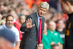 LIVERPOOL, ENGLAND - Sunday September 2, 2012: Arsenal's manager Arsene Wenger before the Premiership match against Liverpool at Anfield. (Pic by David Rawcliffe/Propaganda)