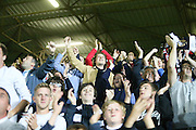 Dundee fans celebrate after James McPake scored with the last kick of the ball - Dundee United v Dundee at Tannadice<br /> - Ladbrokes Premiership<br /> <br />  - &copy; David Young - www.davidyoungphoto.co.uk - email: davidyoungphoto@gmail.com