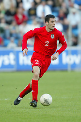 OSLO, NORWAY - Thursday, May 27, 2004:  Wales' Mark Delaney in action against Norway during the International Friendly match at the Ullevaal Stadium, Oslo, Norway. (Photo by David Rawcliffe/Propaganda)