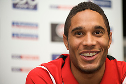 CARDIFF, WALES - Friday, November 13, 2009: Wales' new captain Ashley Williams during a press conference at the Vale of Glamorgan ahead of the international friendly match against Scotland. (Pic by David Rawcliffe/Propaganda)