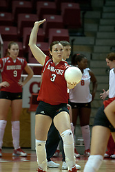 20 November 2004....Maura McCarthy readies to serve....Illinois State University Redbirds V Drake Bulldogs Women's Volleyball.  Redbird Arena, Illinois State University, Normal IL