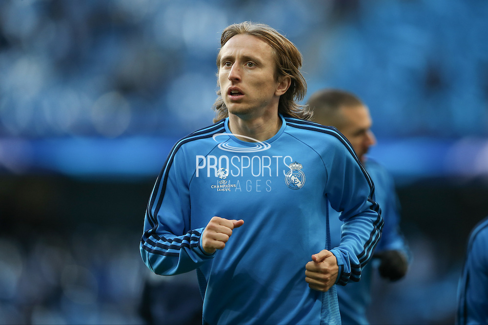 Real Madrid midfielder Luka Modric (19)  during the Champions League match between Manchester City and Real Madrid at the Etihad Stadium, Manchester, England on 26 April 2016. Photo by Simon Davies.