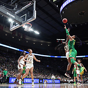 March 31, 2019; Portland, OR, USA;  Oregon Ducks forward Satou Sabally (0) shoots over Mississippi State Bulldogs forward Anriel Howard (5) in the Elite Eight of the NCAA Women's Tournament at Moda Center.<br /> Photo by Jaime Valdez