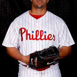 February 22, 2011; Clearwater, FL, USA; Philadelphia Phillies relief pitcher J.C. Romero (16) poses during photo day at Bright House Networks Field. Mandatory Credit: Derick E. Hingle