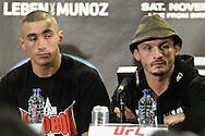 BIRMINGHAM, ENGLAND, NOVEMBER 5, 2011: Terry Etim (left) and Brad Pickett are pictured during the post-fight press conference for UFC 138 inside the LG Arena on November 5, 2011.