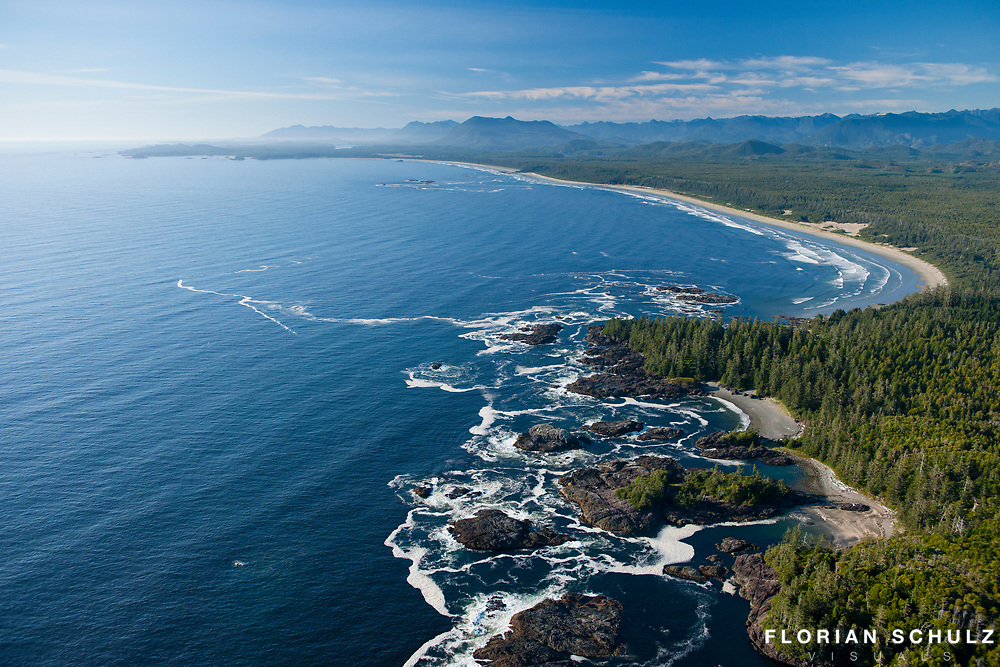 Aerial of Wickaninnish Bay and Long Beach, Pacific Rim National Park, Vancouver Island, British Columbia, Canada.