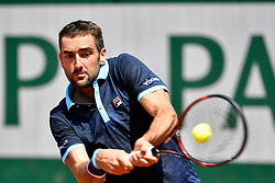 PARIS, June 1, 2017  Marin Cilic of Croatia returns the ball during the men's singles 2nd round match against Konstantin Kravchuk of Russia at the French Open Tennis Tournament 2017 in Paris, France, on June 1, 2017. (Credit Image: © Chen Yichen/Xinhua via ZUMA Wire)