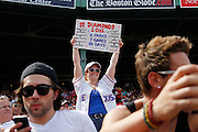 BOSTON, MA - AUGUST 8: A Texas Rangers fan looks on during a game against the Boston Red Sox at Fenway Park on August 8, 2012 in Boston, Massachusetts. The Rangers won 10-9. (Photo by Joe Robbins)