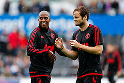 Ashley Young and Daley Blind of Manchester United joke - Mandatory byline: Rogan Thomson/JMP - 07966 386802 - 30/08/2015 - FOOTBALL - Liberty Stadium - Swansea, Wales - Swansea City v Manchester United - Barclays Premier League.