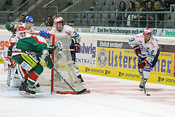 02.11.2014, Curt-Frenzel-Stadion, Augsburg, GER, DEL, Augsburger Panther vs Schwenninger Wild Wings, 16. Runde, im Bild l-r: im Zweikampf, Aktion, mit Markus Keller #35 (Augsburger Panther), Steffen Toelzer #13 (Augsburger Panther) und Jon Matsumoto #10 (Schwenninger Wild Wings) // during Germans DEL Icehockey League 16th round match between Augsburger Panther and Schwenninger Wild Wings at the Curt-Frenzel-Stadion in Augsburg, Germany on 2014/11/02. EXPA Pictures © 2014, PhotoCredit: EXPA/ Eibner-Pressefoto/ Kolbert<br /> <br /> *****ATTENTION - OUT of GER*****