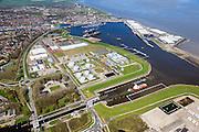 Nederland, Groningen, Delfzijl, 01-05-2013; zeesluis van het Eemskanaal gezien naar de haven van Delfzijl, rechts de Eems in de achtergrond. De sluis maakt onderdeel uit van de vaarroute Lemmer-Delfzijl. <br /> Sealock of the Eemskanaal, the port of Delfzijl, river Ems in the background.<br /> The lock is part of the route Lemmer-Delfzijl.<br /> luchtfoto (toeslag op standard tarieven);<br /> aerial photo (additional fee required);<br /> copyright foto/photo Siebe Swart